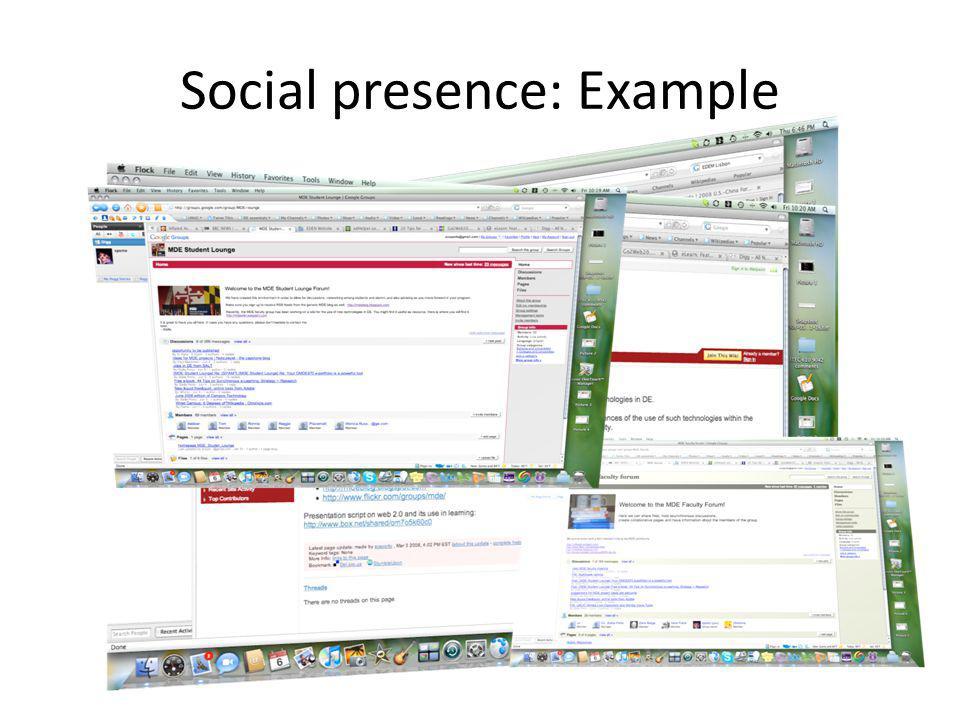 Social presence: Example
