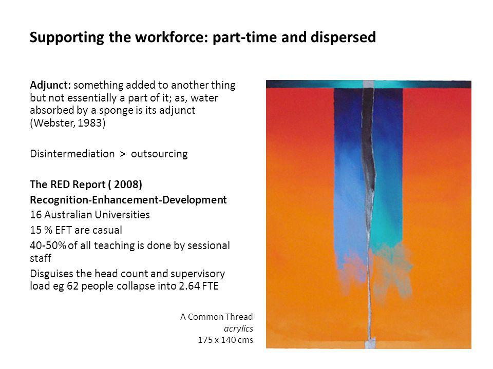 Supporting the workforce: part-time and dispersed Adjunct: something added to another thing but not essentially a part of it; as, water absorbed by a sponge is its adjunct (Webster, 1983) Disintermediation > outsourcing The RED Report ( 2008) Recognition-Enhancement-Development 16 Australian Universities 15 % EFT are casual 40-50% of all teaching is done by sessional staff Disguises the head count and supervisory load eg 62 people collapse into 2.64 FTE A Common Thread acrylics 175 x 140 cms