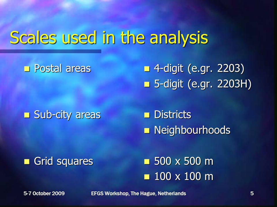 Scales used in the analysis Postal areas Postal areas Sub-city areas Sub-city areas Grid squares Grid squares 4-digit (e.gr.