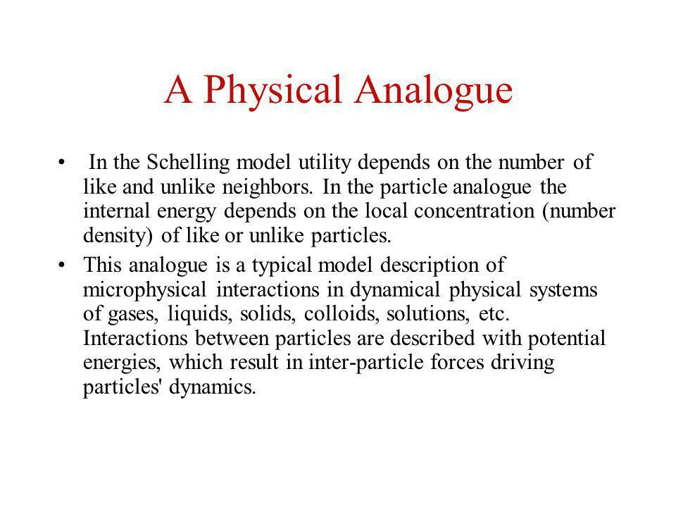 A Physical Analogue In the Schelling model utility depends on the number of like and unlike neighbors. In the particle analogue the internal energy de
