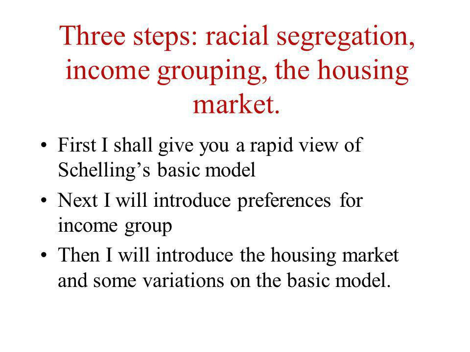 Three steps: racial segregation, income grouping, the housing market. First I shall give you a rapid view of Schellings basic model Next I will introd