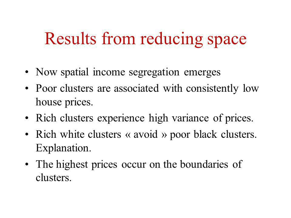 Results from reducing space Now spatial income segregation emerges Poor clusters are associated with consistently low house prices.