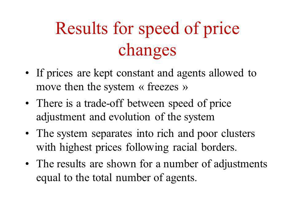 Results for speed of price changes If prices are kept constant and agents allowed to move then the system « freezes » There is a trade-off between speed of price adjustment and evolution of the system The system separates into rich and poor clusters with highest prices following racial borders.