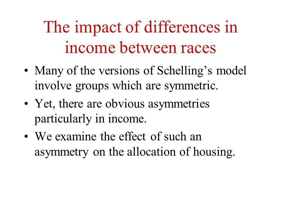 The impact of differences in income between races Many of the versions of Schellings model involve groups which are symmetric. Yet, there are obvious