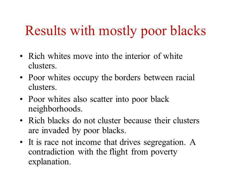 Results with mostly poor blacks Rich whites move into the interior of white clusters.