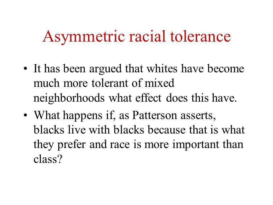Asymmetric racial tolerance It has been argued that whites have become much more tolerant of mixed neighborhoods what effect does this have. What happ