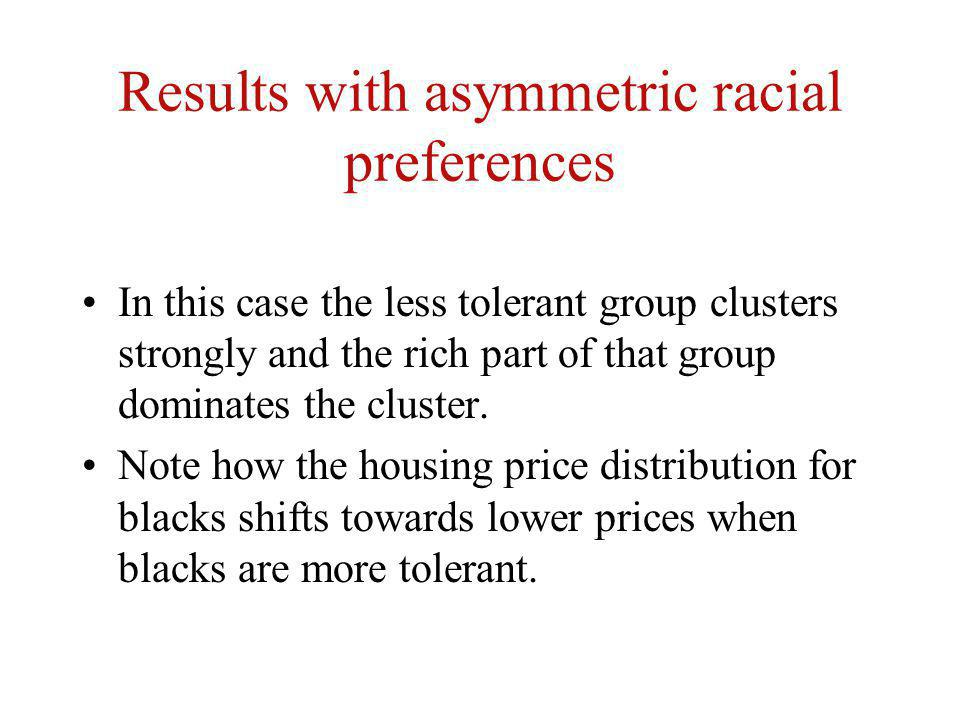 Results with asymmetric racial preferences In this case the less tolerant group clusters strongly and the rich part of that group dominates the cluste