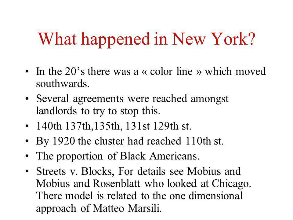 What happened in New York? In the 20s there was a « color line » which moved southwards. Several agreements were reached amongst landlords to try to s