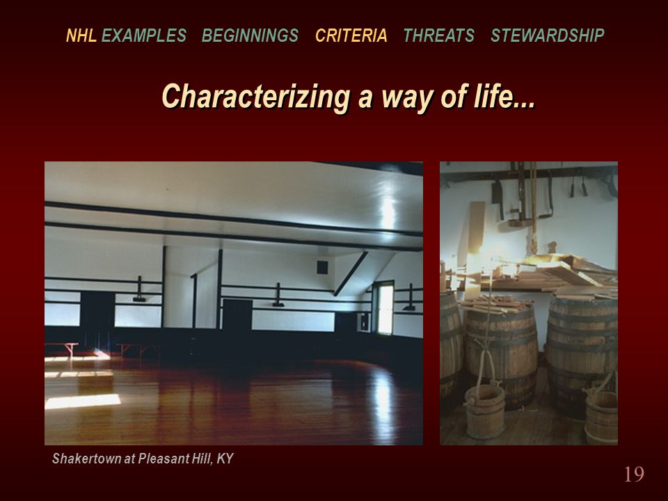 19 Characterizing a way of life...