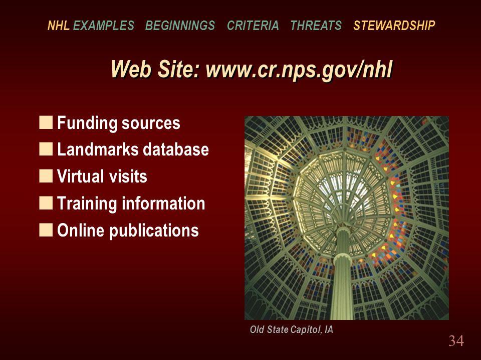 34 Web Site: www.cr.nps.gov/nhl n Funding sources n Landmarks database n Virtual visits n Training information n Online publications Old State Capitol