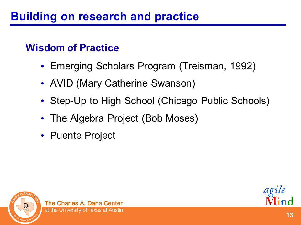 13 Wisdom of Practice Emerging Scholars Program (Treisman, 1992) AVID (Mary Catherine Swanson) Step-Up to High School (Chicago Public Schools) The Alg