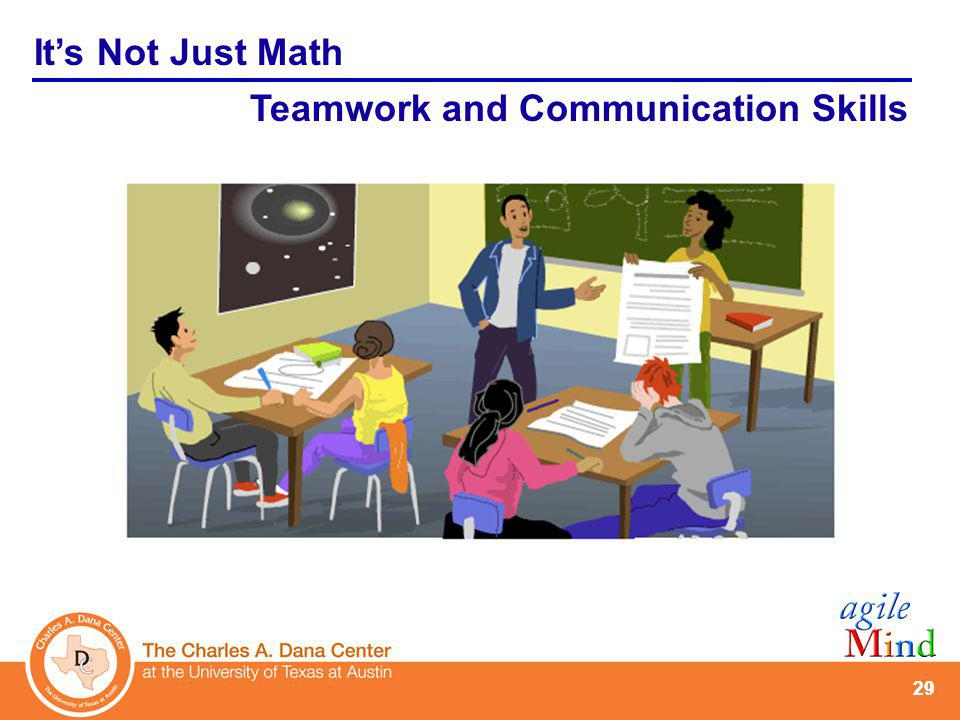 29 Its Not Just Math Teamwork and Communication Skills