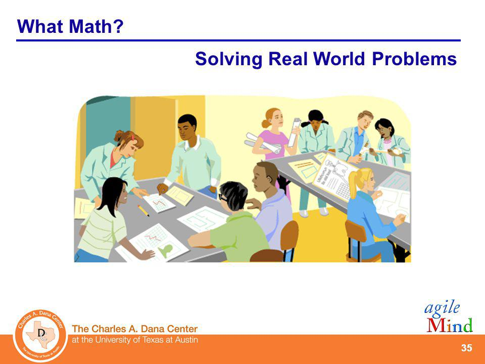 35 What Math? Solving Real World Problems