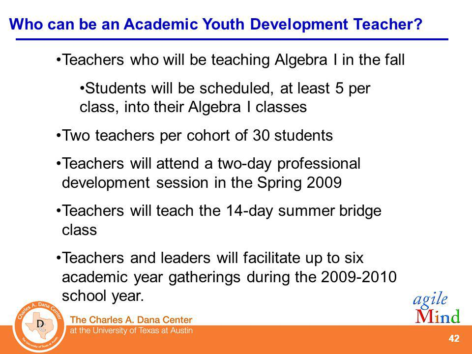 42 Teachers who will be teaching Algebra I in the fall Students will be scheduled, at least 5 per class, into their Algebra I classes Two teachers per cohort of 30 students Teachers will attend a two-day professional development session in the Spring 2009 Teachers will teach the 14-day summer bridge class Teachers and leaders will facilitate up to six academic year gatherings during the 2009-2010 school year.