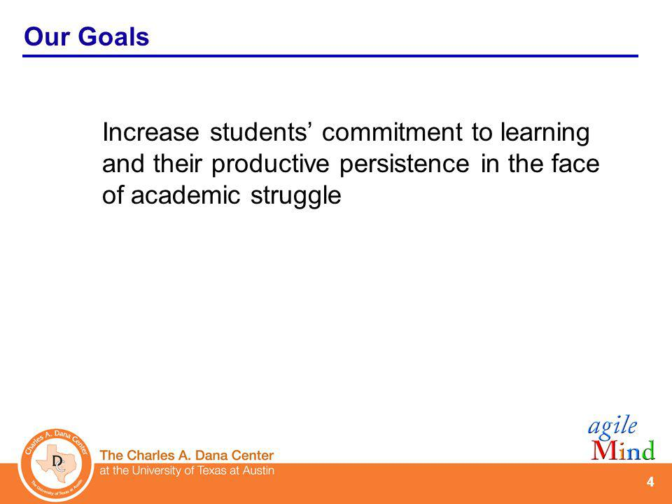 4 Increase students commitment to learning and their productive persistence in the face of academic struggle Our Goals