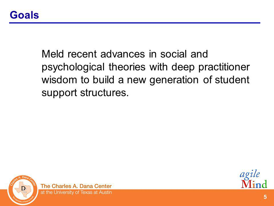 5 Meld recent advances in social and psychological theories with deep practitioner wisdom to build a new generation of student support structures.