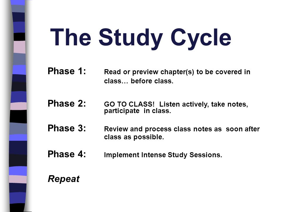 The Study Cycle Phase 1: Read or preview chapter(s) to be covered in class… before class. Phase 2: GO TO CLASS! Listen actively, take notes, participa