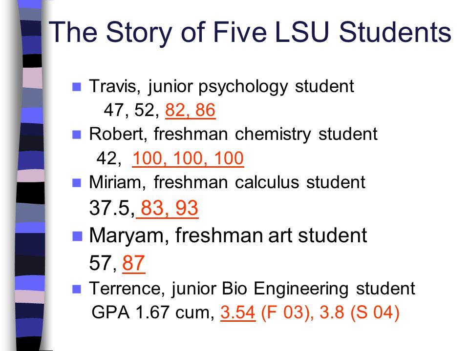 The Story of Five LSU Students Travis, junior psychology student 47, 52, 82, 86 Robert, freshman chemistry student 42, 100, 100, 100 Miriam, freshman