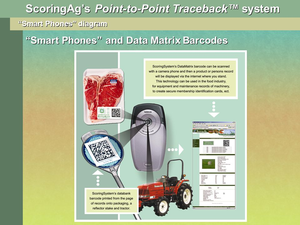 Smart Phones diagram Smart Phones and Data Matrix Barcodes ScoringAgs Point-to-Point Traceback system