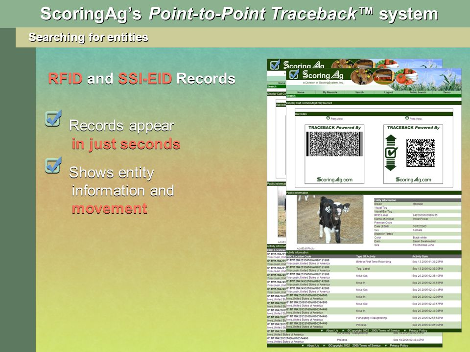 ScoringAgs Point-to-Point Traceback system Records appear in just seconds Shows entity information and movement RFID and SSI-EID Records Searching for entities