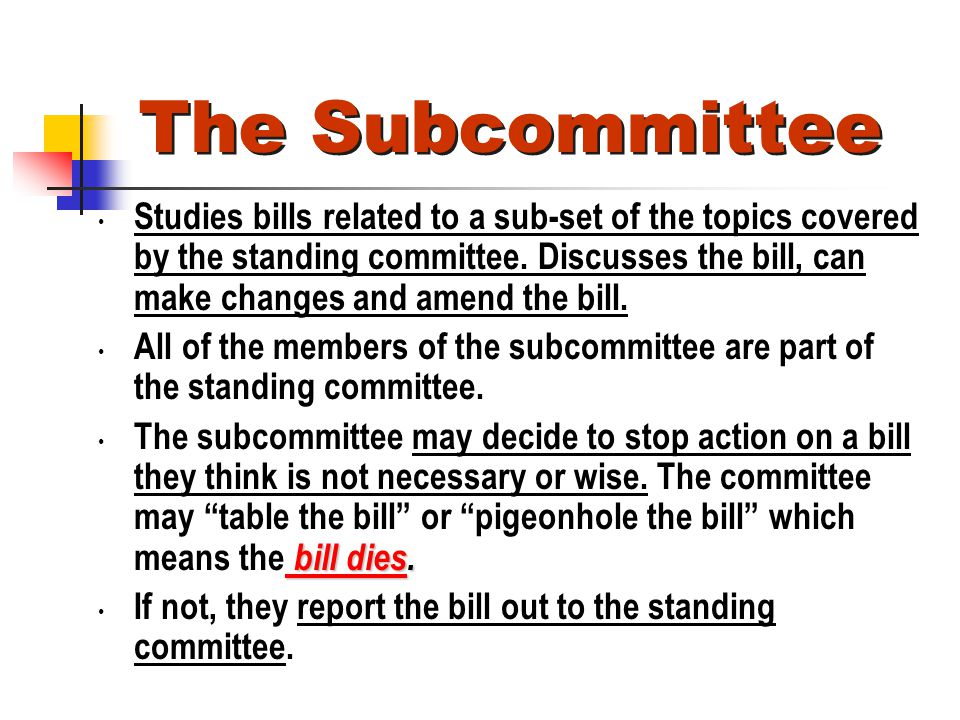 The Subcommittee Studies bills related to a sub-set of the topics covered by the standing committee. Discusses the bill, can make changes and amend th