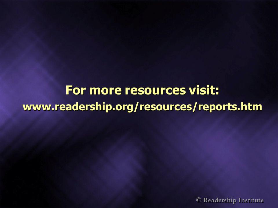 © Readership Institute