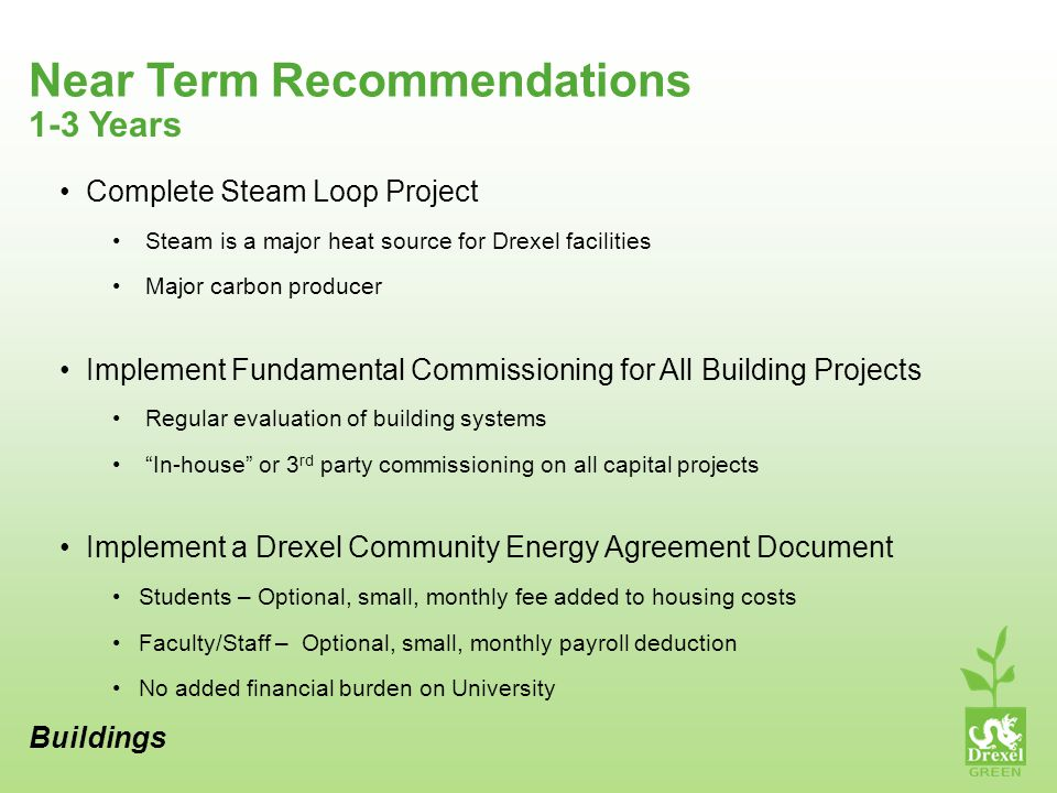 Near Term Recommendations Buildings 1-3 Years Complete Steam Loop Project Steam is a major heat source for Drexel facilities Major carbon producer Implement Fundamental Commissioning for All Building Projects Regular evaluation of building systems In-house or 3 rd party commissioning on all capital projects Implement a Drexel Community Energy Agreement Document Students – Optional, small, monthly fee added to housing costs Faculty/Staff – Optional, small, monthly payroll deduction No added financial burden on University