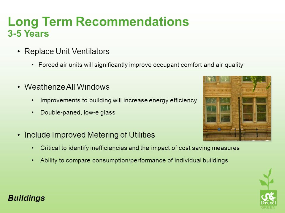 Long Term Recommendations Buildings 3-5 Years Replace Unit Ventilators Forced air units will significantly improve occupant comfort and air quality Weatherize All Windows Improvements to building will increase energy efficiency Double-paned, low-e glass Include Improved Metering of Utilities Critical to identify inefficiencies and the impact of cost saving measures Ability to compare consumption/performance of individual buildings