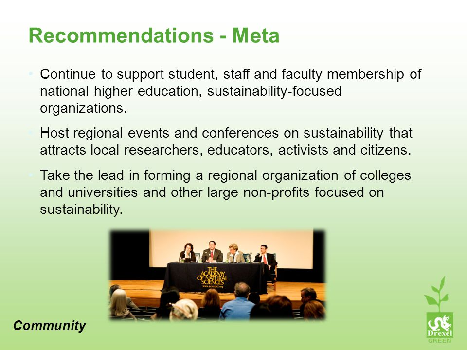 Recommendations - Meta Continue to support student, staff and faculty membership of national higher education, sustainability-focused organizations.