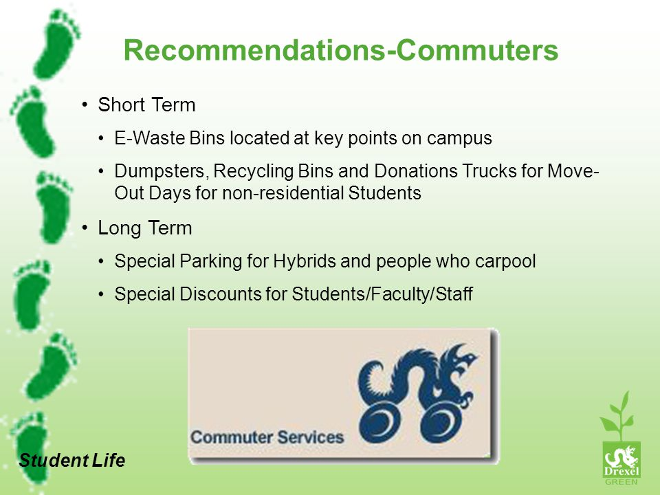 Recommendations-Commuters Short Term E-Waste Bins located at key points on campus Dumpsters, Recycling Bins and Donations Trucks for Move- Out Days for non-residential Students Long Term Special Parking for Hybrids and people who carpool Special Discounts for Students/Faculty/Staff Student Life