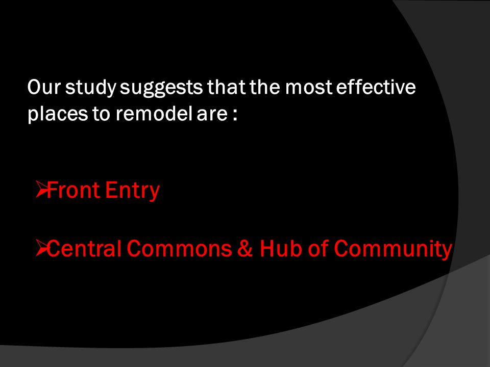 Our study suggests that the most effective places to remodel are : Front Entry Central Commons & Hub of Community