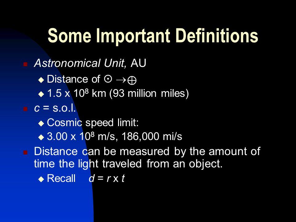 Some Important Definitions Astronomical Unit, AU Distance of 1.5 x 10 8 km (93 million miles) c = s.o.l. Cosmic speed limit: 3.00 x 10 8 m/s, 186,000