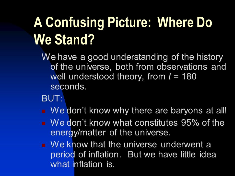 A Confusing Picture: Where Do We Stand? We have a good understanding of the history of the universe, both from observations and well understood theory