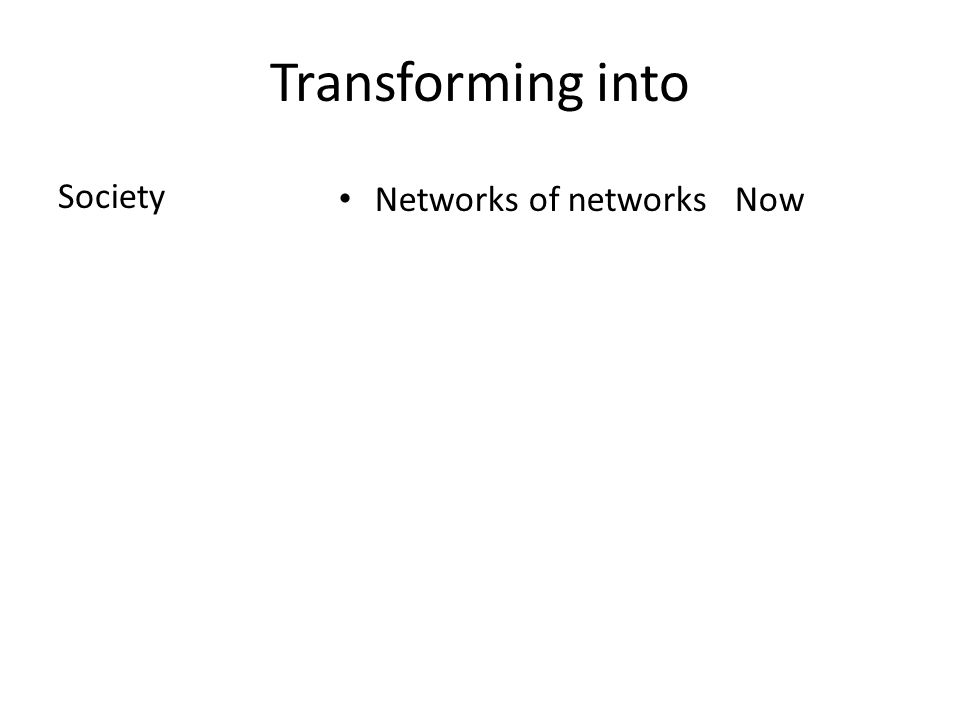 Transforming into Society Networks of networks Now