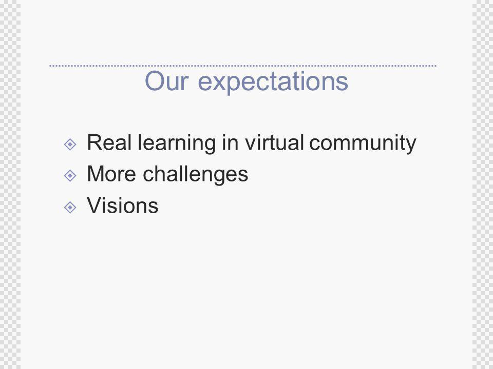 Our expectations Real learning in virtual community More challenges Visions