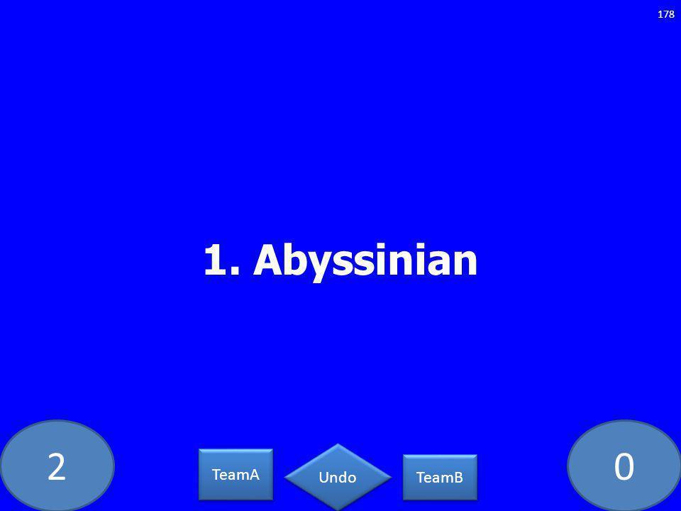 20 1. Abyssinian 178 TeamA TeamB Undo