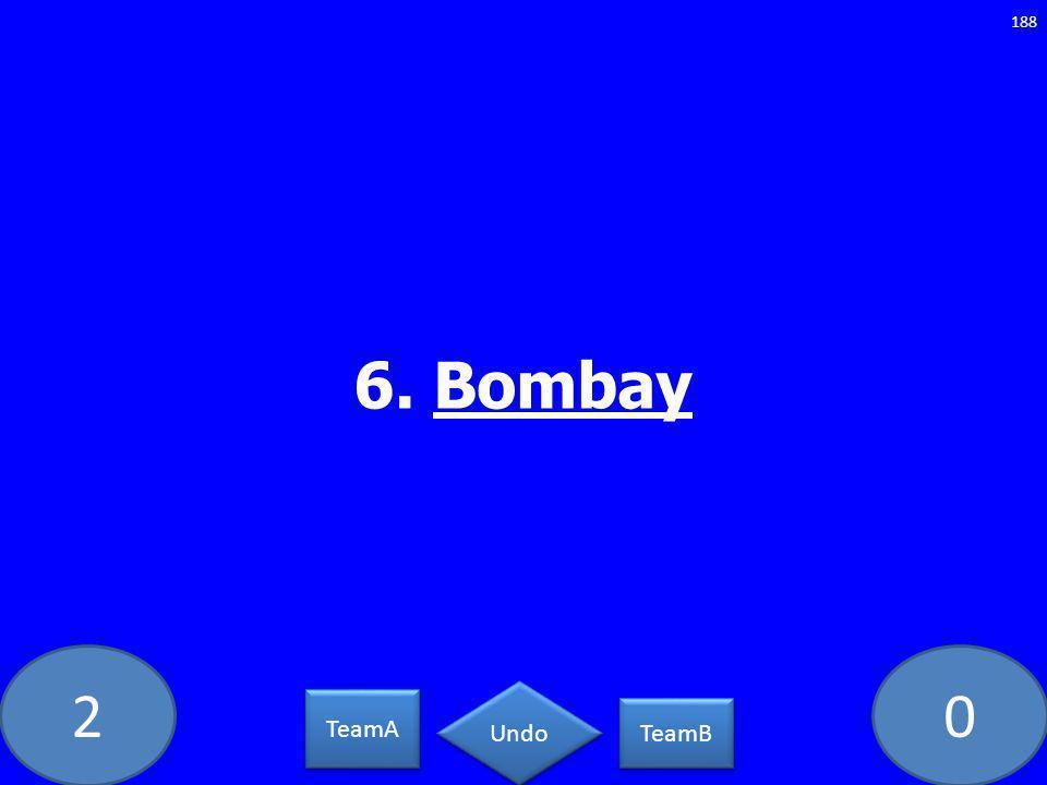 20 6. Bombay 188 TeamA TeamB Undo