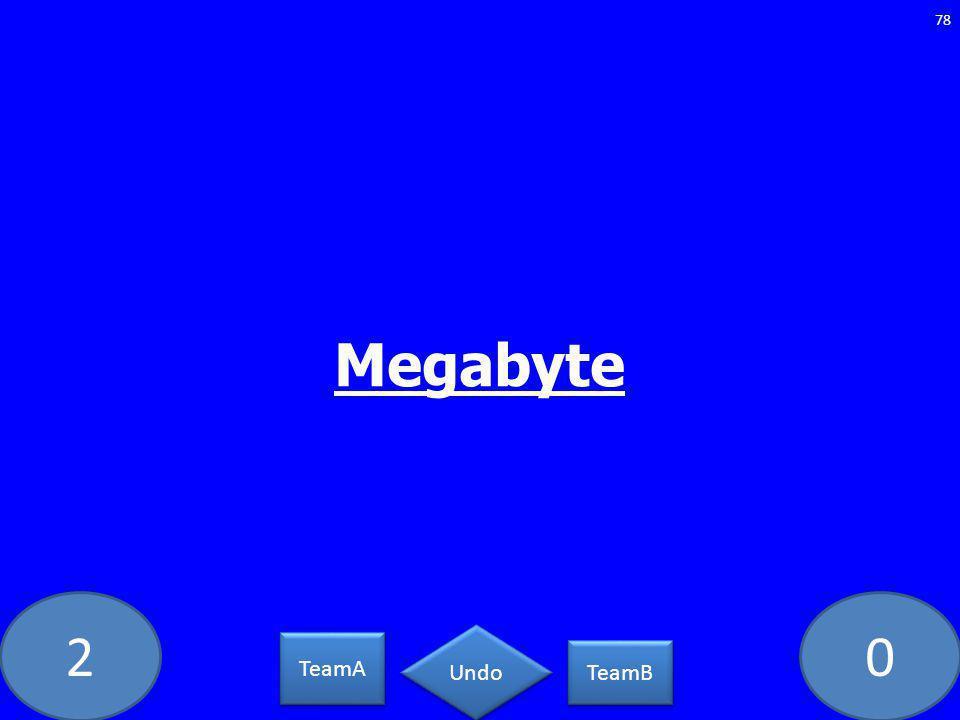 20 Megabyte 78 TeamA TeamB Undo
