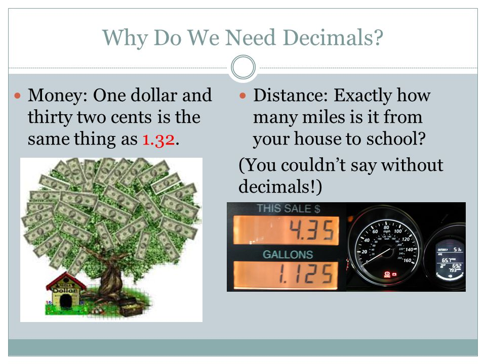 Why Do We Need Decimals? Money: One dollar and thirty two cents is the same thing as 1.32. Distance: Exactly how many miles is it from your house to s