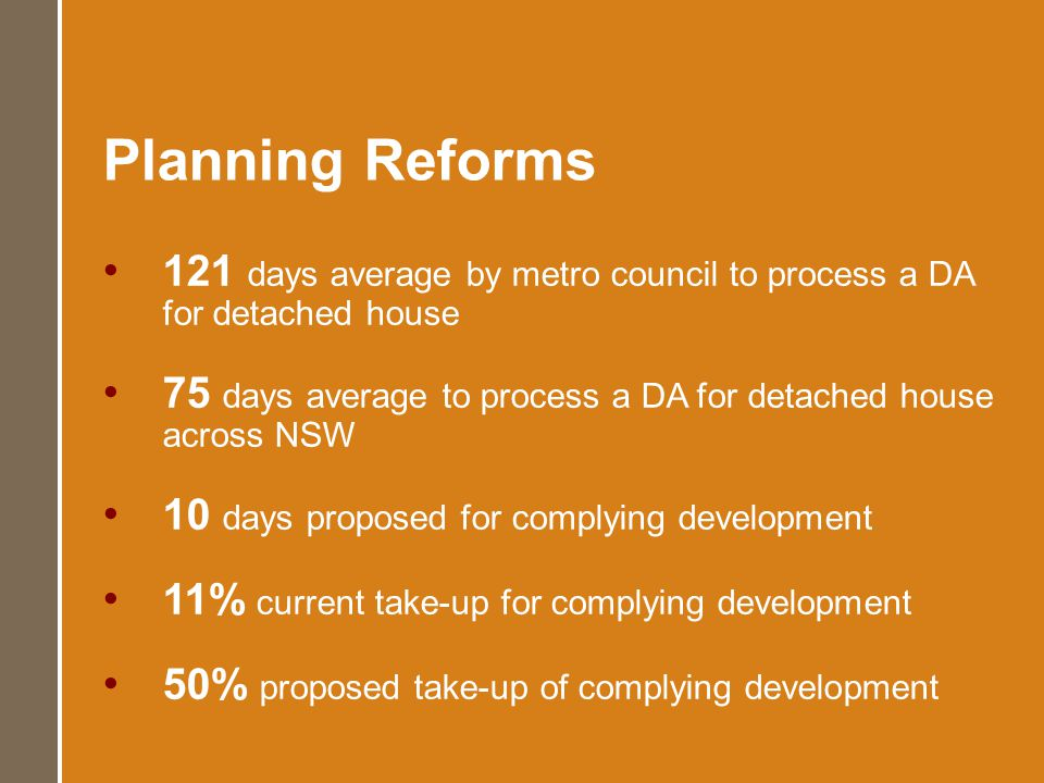 Planning Reforms 121 days average by metro council to process a DA for detached house 75 days average to process a DA for detached house across NSW 10
