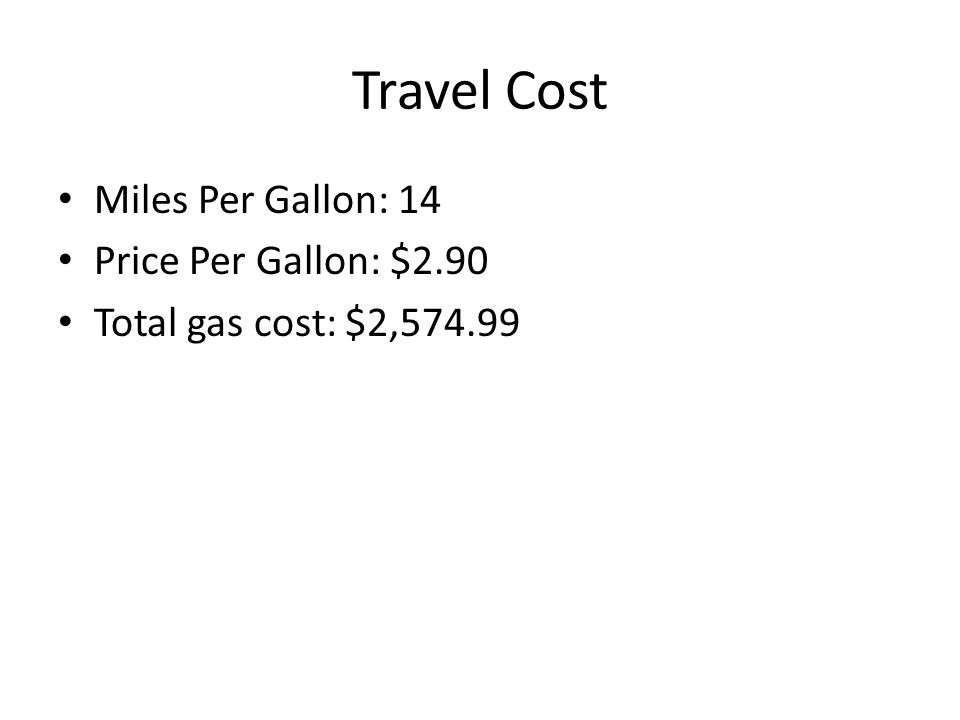 Travel Cost Miles Per Gallon: 14 Price Per Gallon: $2.90 Total gas cost: $2,574.99