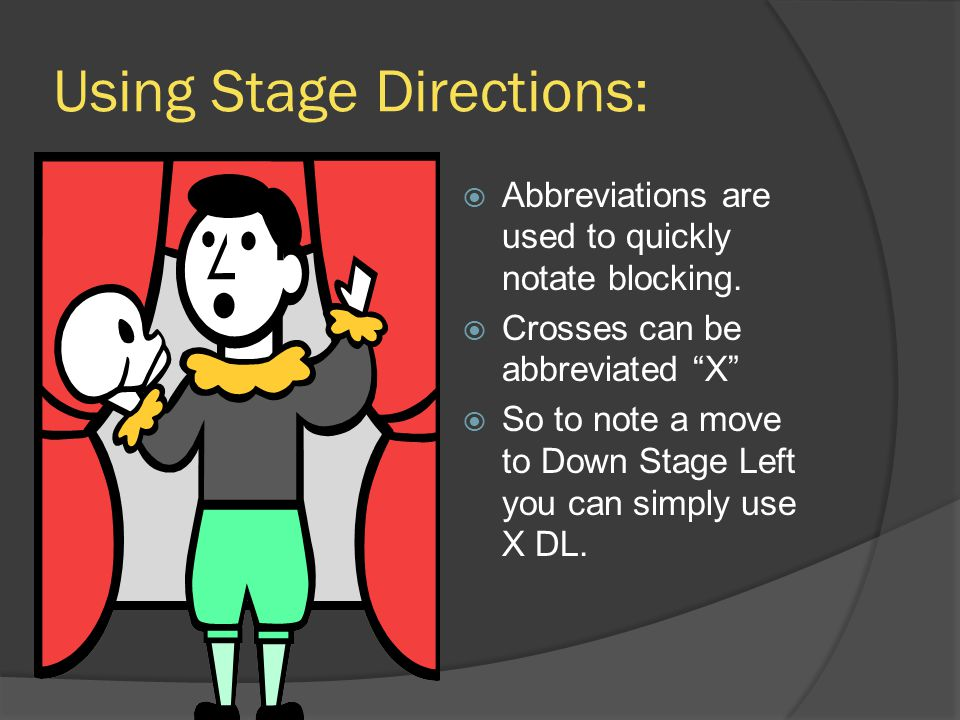 Using Stage Directions: Abbreviations are used to quickly notate blocking.