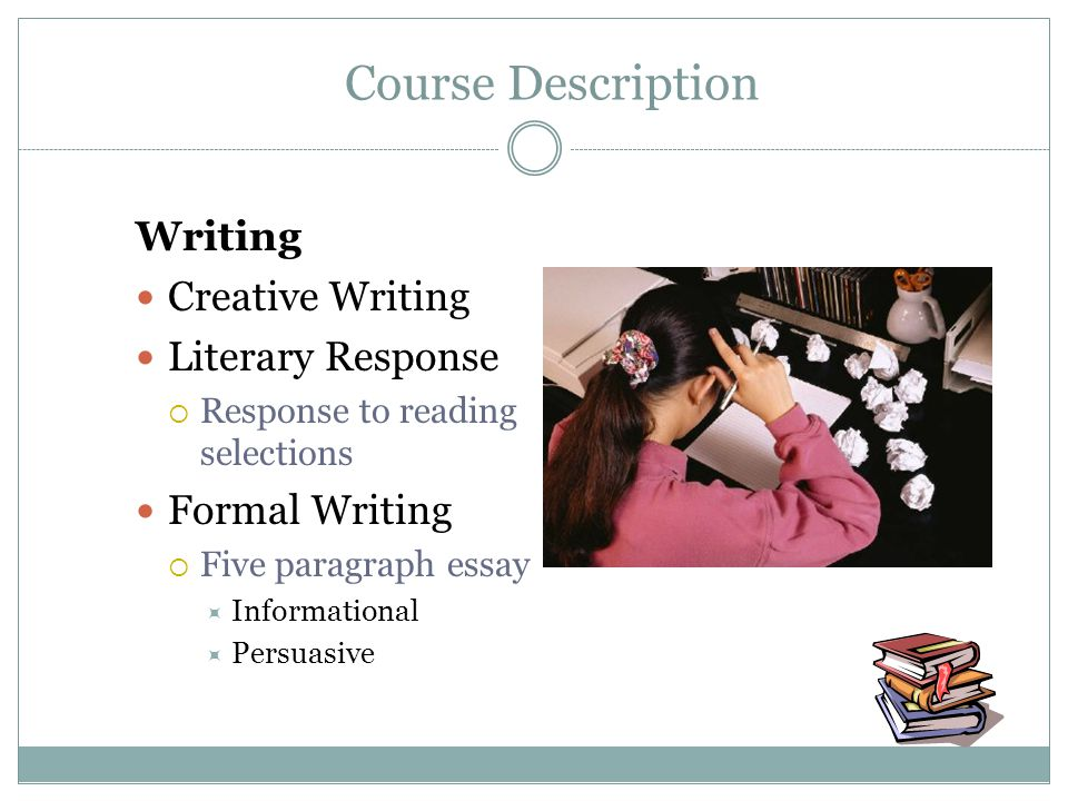 Writing Creative Writing Literary Response Response to reading selections Formal Writing Five paragraph essay Informational Persuasive Course Descript