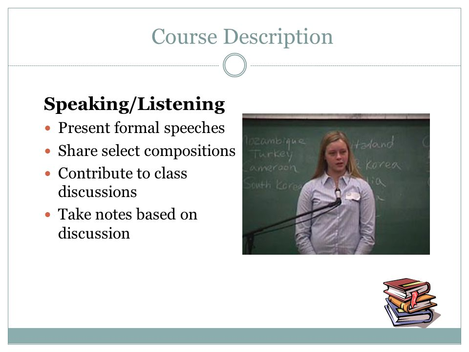 Speaking/Listening Present formal speeches Share select compositions Contribute to class discussions Take notes based on discussion Course Description