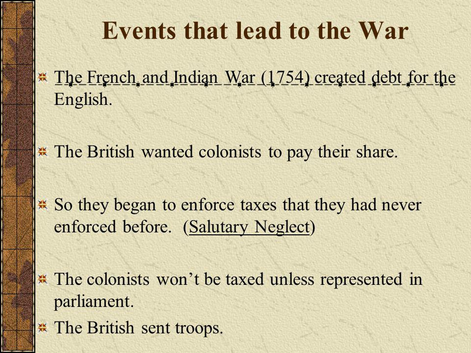 Events that lead to the War The French and Indian War (1754) created debt for the English.