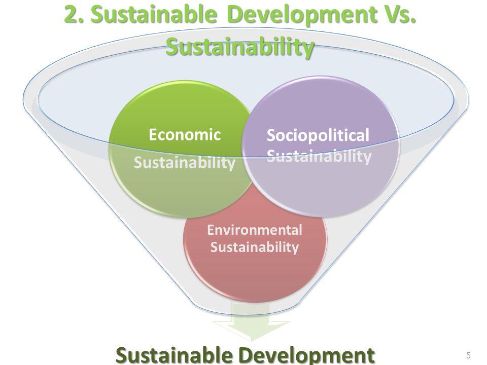 Sustainable Development Environmental Sustainability Economic Sustainability Sociopolitical Sustainability 2. Sustainable Development Vs. Sustainabili