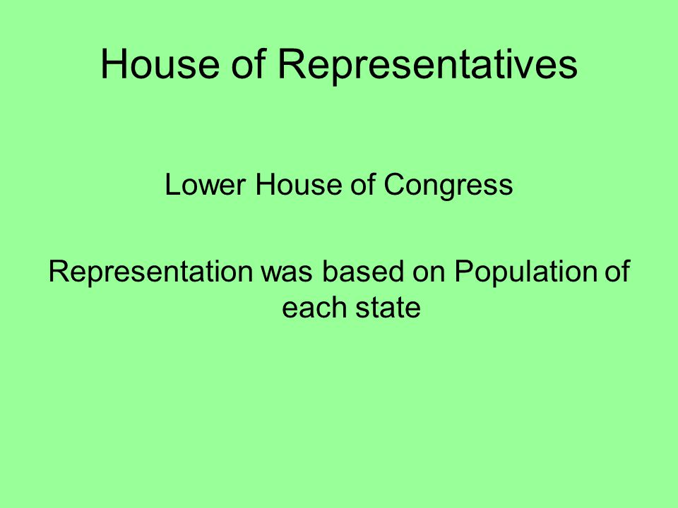 House of Representatives Lower House of Congress Representation was based on Population of each state