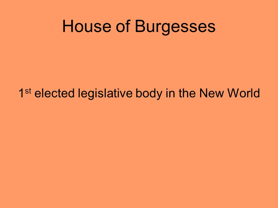 House of Burgesses 1 st elected legislative body in the New World