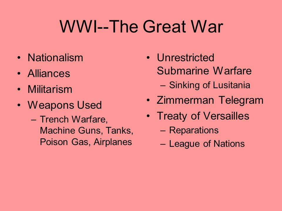WWI--The Great War Nationalism Alliances Militarism Weapons Used –Trench Warfare, Machine Guns, Tanks, Poison Gas, Airplanes Unrestricted Submarine Wa