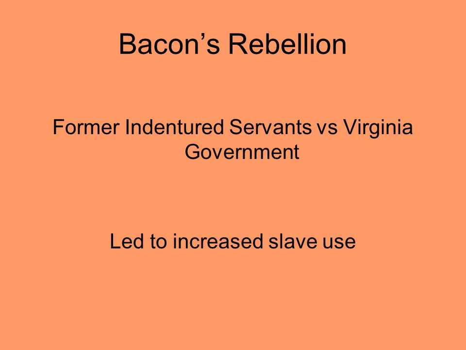 Bacons Rebellion Former Indentured Servants vs Virginia Government Led to increased slave use
